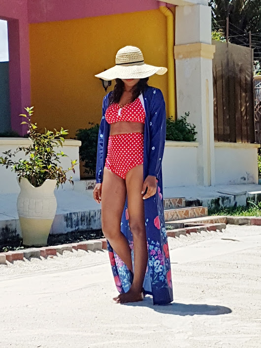 Vacation Diaries: Beach Style - Red Polka Dot Swimsuit & Blue Floral Kimono - DaFashionFreak