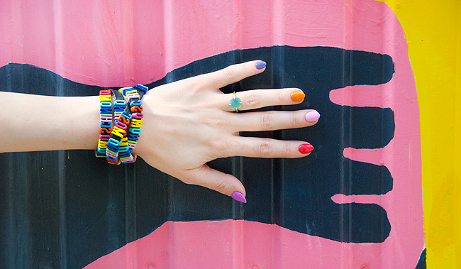 Moschino, rainbow bracelet, confetti nails
