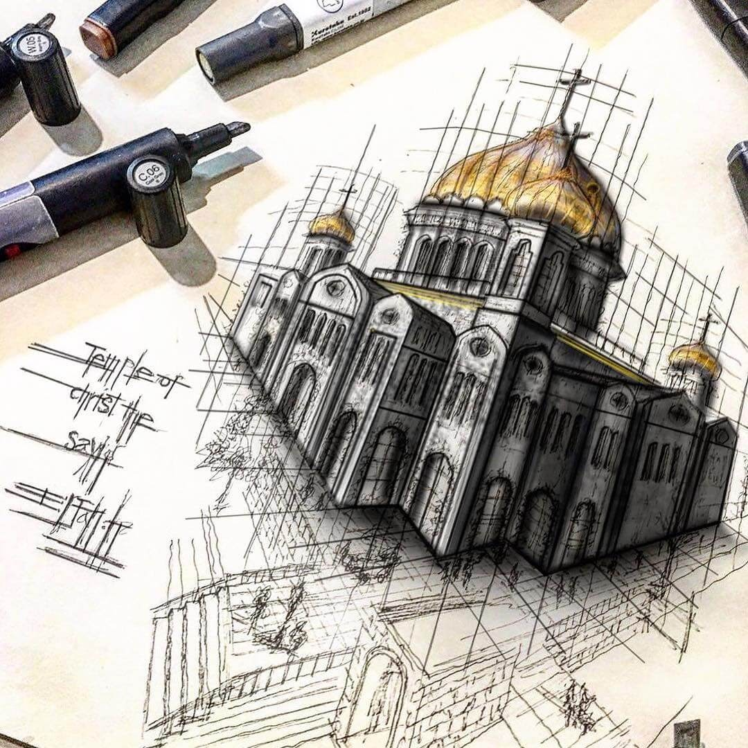 07-Cathedral-of-Christ-the-Saviour-Erfan-Hasankhani-Ink-and-Color-Architectural-Drawings-www-designstack-co