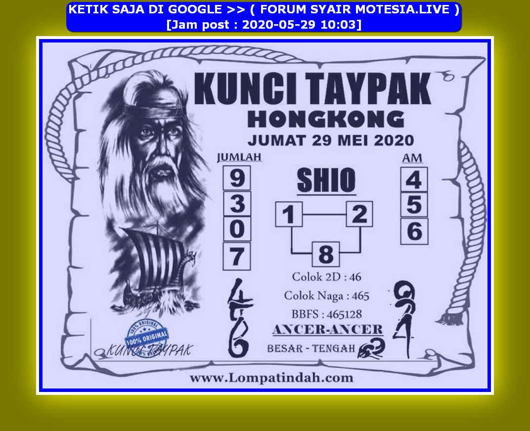 Kode syair Hongkong Jumat 29 Mei 2020 21