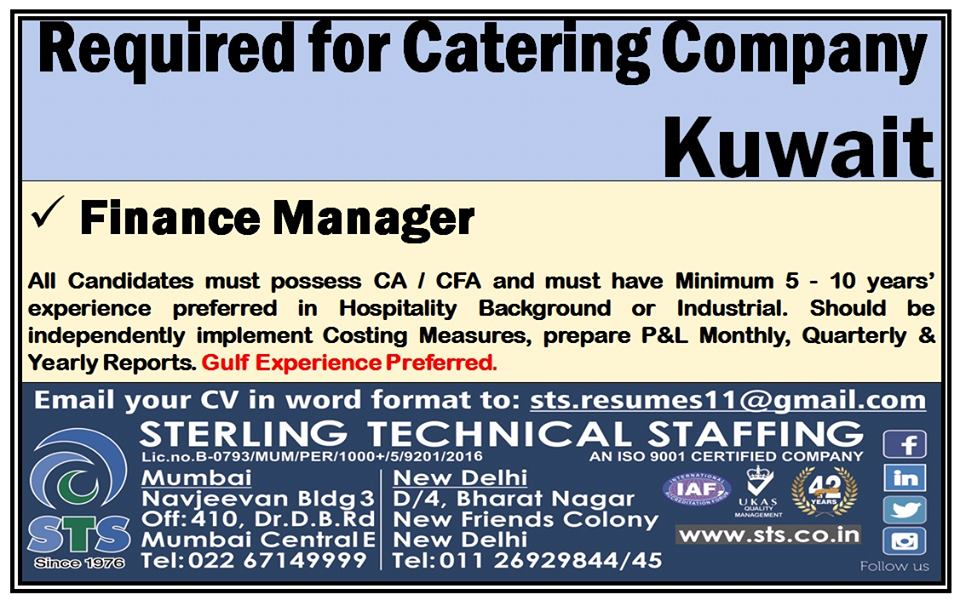 Finance Manager for Catering Company in Kuwait