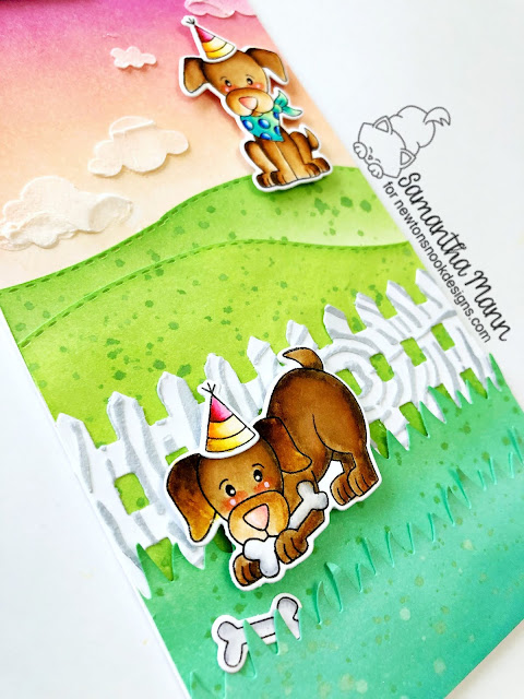 Birthday Wishes & Puppy Kisses Card by Samantha Mann for Newton's Nook Designs, slim line card, cards, distress inks, ink blending, dies, birthday card, #newtonsnook #cards #birthday #puppy #birthdaycard #distressinks #inkblending