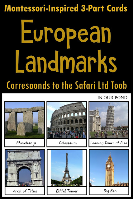 European Landmarks 3-Part Cards from In Our Pond #montessori #homeschooling #homeschool #printables #monstessorihomeschool #montessoriathome #montessorischool #safaritoob