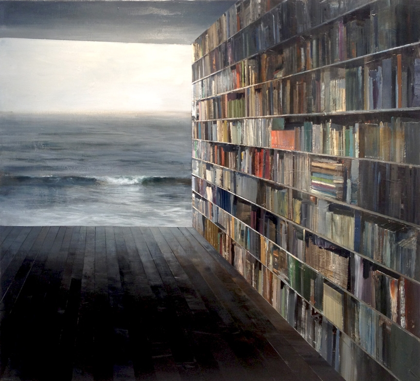 05-Library-Jeremy-Miranda-Paintings-of-Surreal-Collages-of-interiors-and-exteriors-www-designstack-co