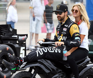James Hinchcliffe And Rebecca Dalton Sit Together During The Honda Indy In Toronto Last Summer