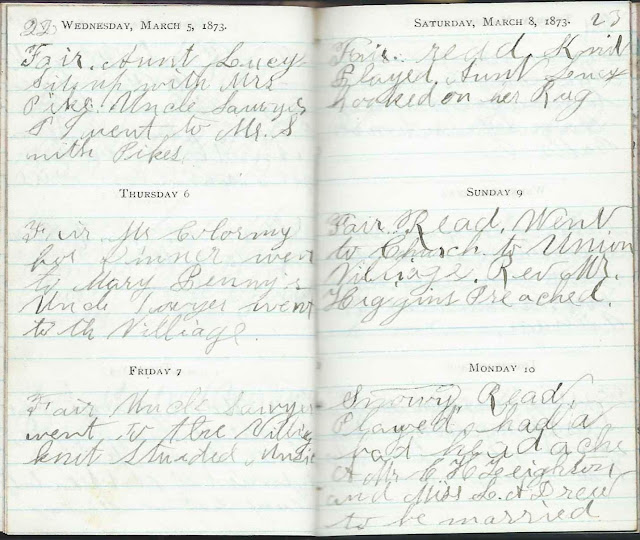 Heirlooms Reunited: March Entries in the 1873 Diary of Ida