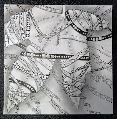 zentangle leaf zentwining shading Diva challenge 289