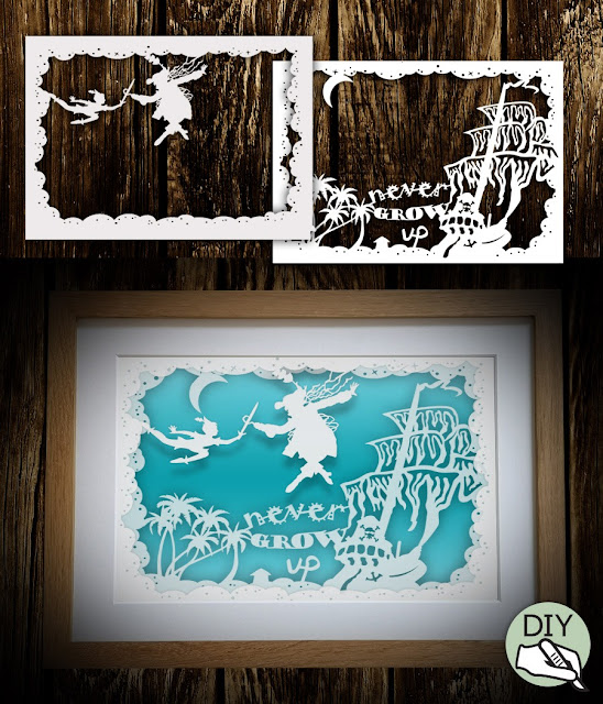 Peter Pan Shadowbox Papercut Template