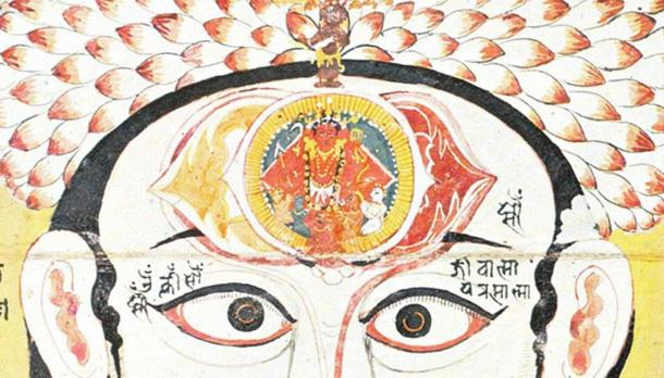 18th Century illustration from Rajasthan depicting the ajna chakra