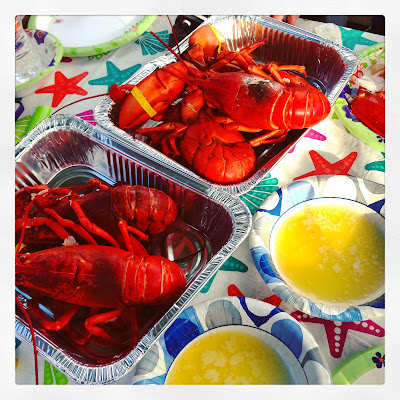Fresh Caught Boiled Lobster with Melted Butter, caught in Boston, by my Uncle Steve