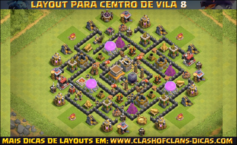 Exceptionnel Layouts de Centro de vila 8 para Clash of Clans - Clash of Clans Dicas CL13