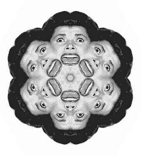 Seis caras de mujer gritando, imagen de caleidoscopio