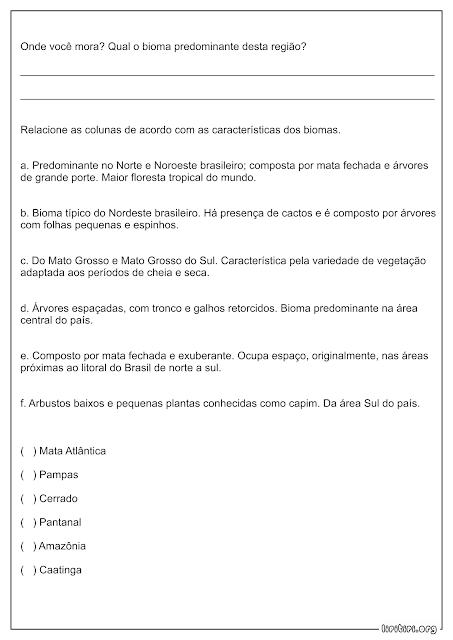 Biomas Brasileiros Atividade Geografia