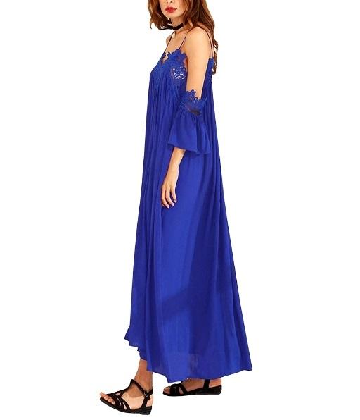 Crochet Lace Cold Shoulder Women Loose Pleated Beach Maxi Dresses
