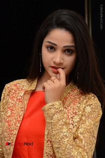 Telugu Actress Divya Nandini Stills in Orange Sleeveless Gown at Chennai Chaitrama Movie le Launch Event  0087.JPG