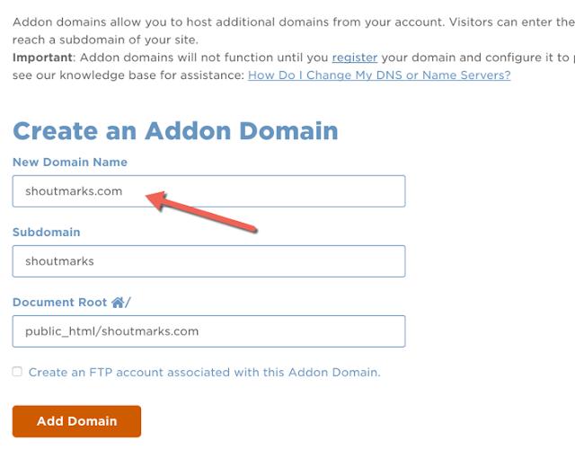menggunakan fitur add-on domain di hostgator