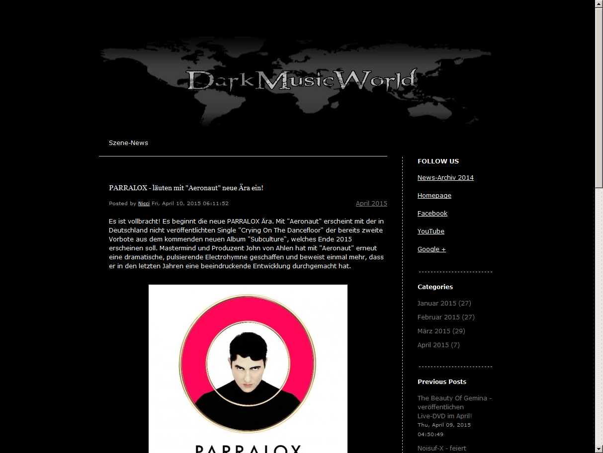 Dark Music World (Germany) article on Aeronaut