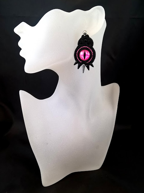 statement soutache earrings violet black dragon eye original dark noir gothic