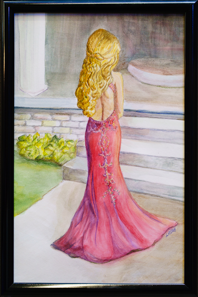 a photo of a painting of a young woman in an evening gown by laurie south fillinger