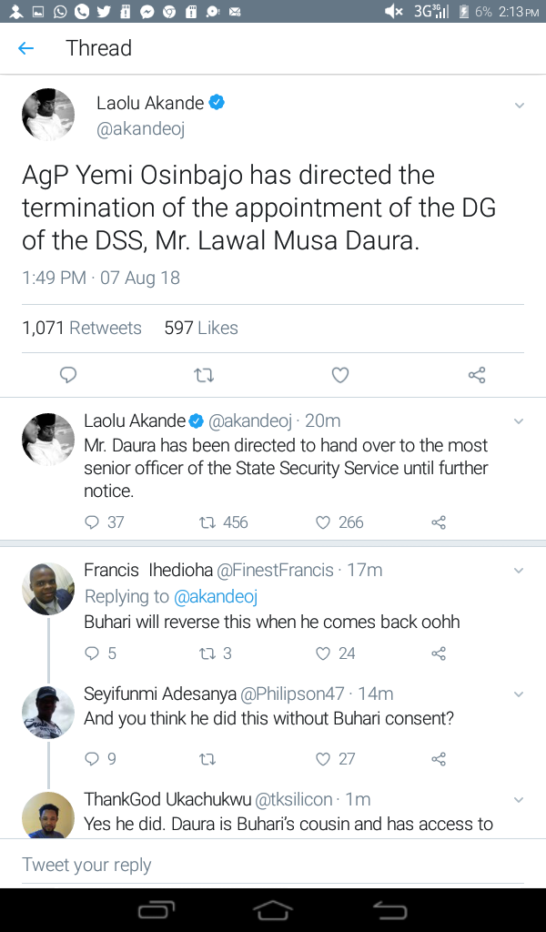 Ag president orders the sack of Ag DG of DSS