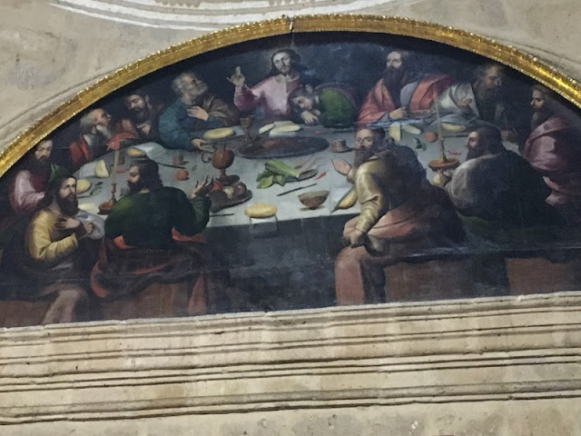 Last supper painting in Church of La Compania, Arequipa, Peru