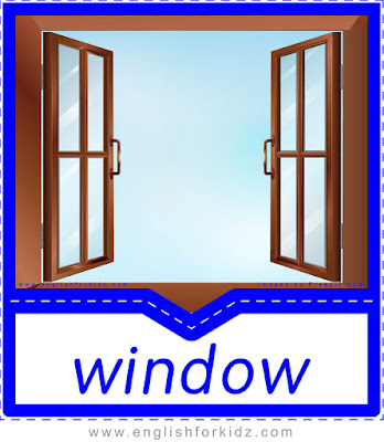 English flashcard, home vocabulary, window