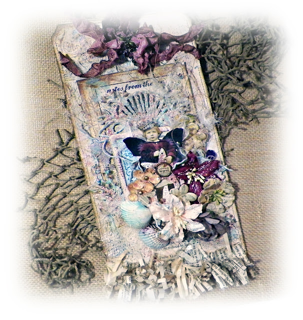 "Giant Shabby Vintage Tag by Lisa Novogrodski for Scraps of Elegance using the August Kit ""By The Sea"""