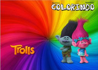 Imprimible carátula de libro para colorear de Trolls.