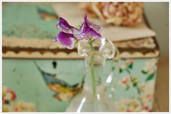 Romantic little flower in glass bottle