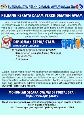 Permohonan Jawatan Penolong Pegawai Kesatria Gred S29 2018