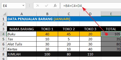 Rumus Excel Penjumlahan Antar Kolom Dengan Operator Plus (+)