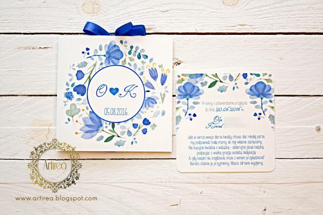 biało niebieskie zaproszenia ślubne z motywem kwiatowym Artirea