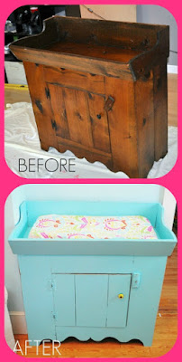 Before and after of an antique dry sink turned into a changing table