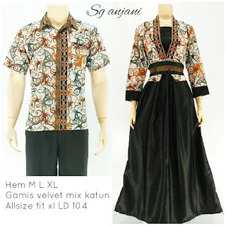 batik pasangan sarimbit gamis anjani hitam