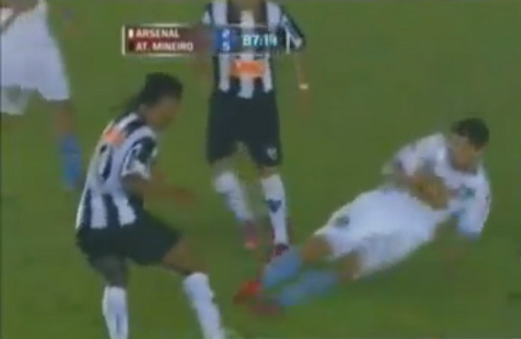 Diego Braghieri is lucky not to get sent off for this lunging challenge on Ronaldinho