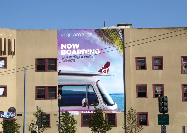 Virgin America Now boarding Maui Oahu billboard