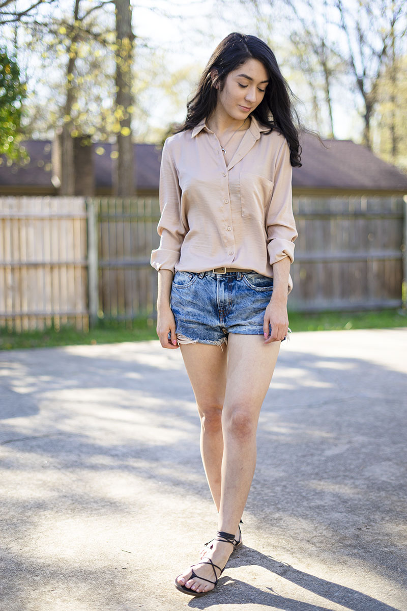 forever 21 satin top h&m boyfriend shorts madewell lace up sandals