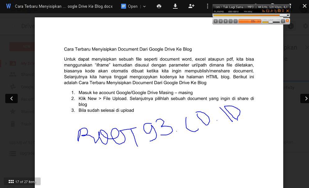google drive ke blog
