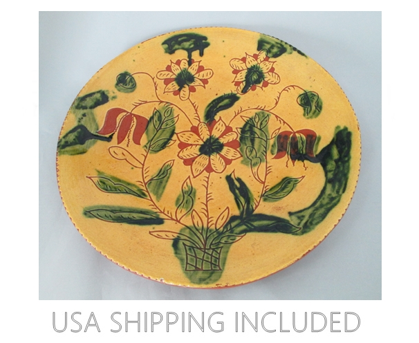 Lester Breininger Redware Dish 13 Inches Number 3 Dated 9-14-1977