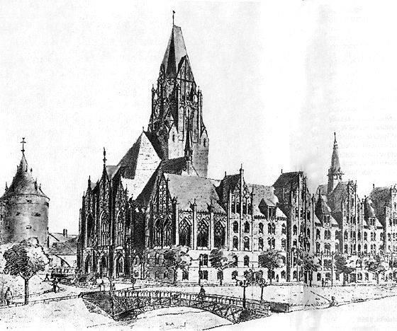 1900 год. Рига. Нереализованный проект новой ратуши на берегу Городского канала. Архитекторы Хедман, Вазашерна, Гран и Линдберг из Хельсинки.