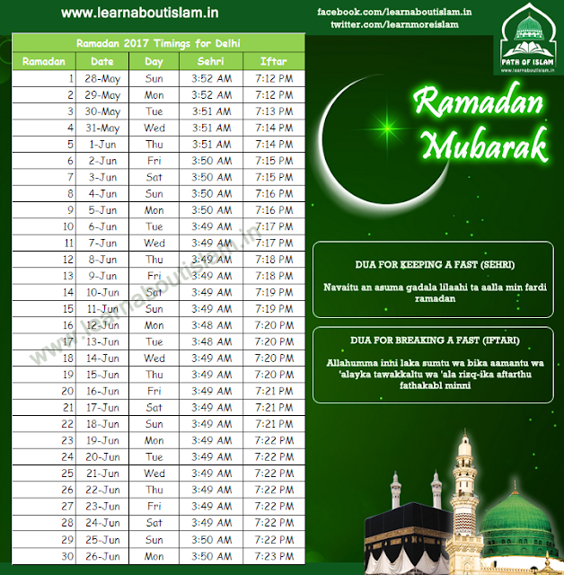 Ramadan Timings 2017 for New Delhi - Sehri Timings and Iftar Timings