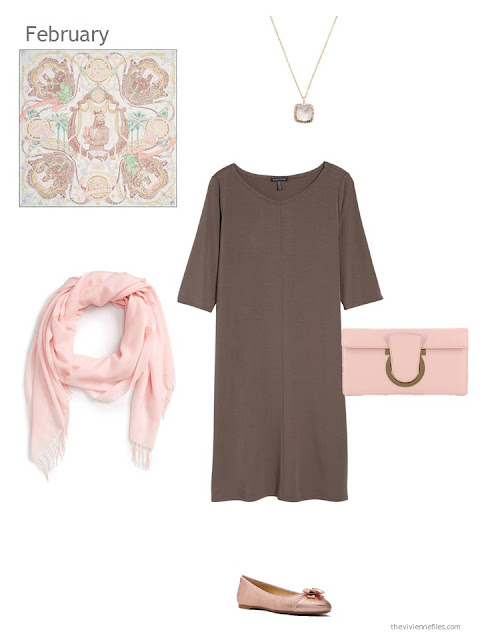 a brown dress with blush accessories