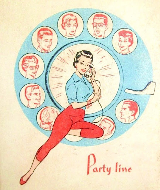 Illustration 1950s party line pin up. An Exciting Offer and Other stories of Marketing the American Dream. marchmatron.com