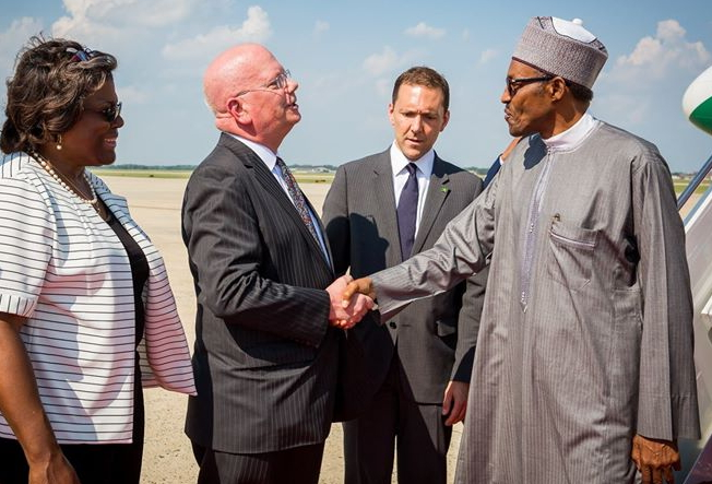 buhari arrives usa