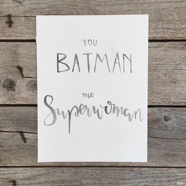 you batman me superwoman poster watercolour