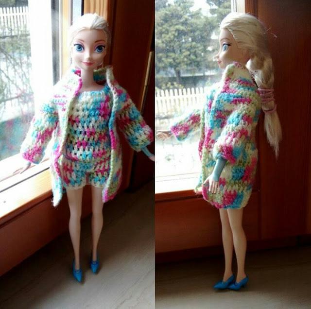 Roupa em crochet para bonecas, roupa Barbie, roupinha em crochet, Vestiti al uncinetto