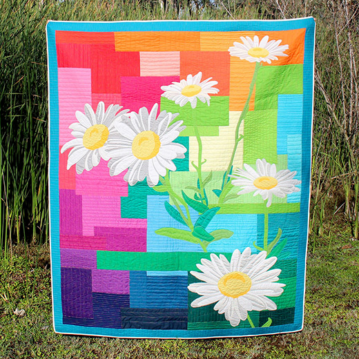 Daisy Daydream Rainbow Quilt Free Pattern Designed by Flaurie & Finch for RJR Fabrics