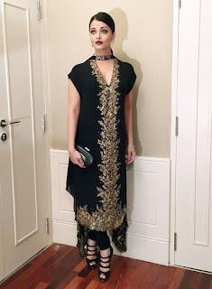 Aishwarya Rai Black Embroidery Dress