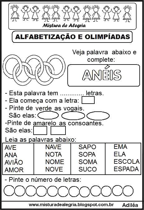 Fabuloso ATIVIDADES SOBRE JOGOS OLÍMPICOS 2016 E ALFABETIZAÇÃO, IMPRIMIR E  ZY37