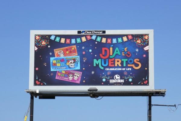 Dia de los Muertos Lottery Scratchers bilboard